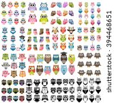 big set of owls | Shutterstock .eps vector #394468651