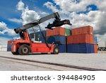 forklift handling container box ... | Shutterstock . vector #394484905