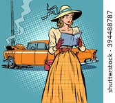 woman crash car retro funny | Shutterstock .eps vector #394488787