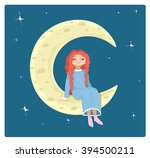 redhead girl on the moon | Shutterstock .eps vector #394500211