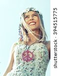 hippie girl with smile flowered ... | Shutterstock . vector #394515775
