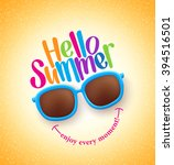 summer shades with hello summer ... | Shutterstock .eps vector #394516501