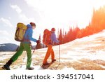 Two Male Hikers In Winter...