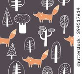 seamless pattern with cute fox | Shutterstock .eps vector #394517614