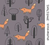seamless pattern with cute fox | Shutterstock .eps vector #394517641