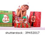 cute asian girl with boxes and bags of christmas gifts - stock photo