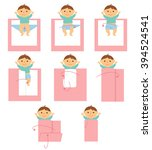 baby swaddle. how to make a... | Shutterstock .eps vector #394524541