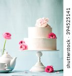 wedding cake with flowers | Shutterstock . vector #394525141