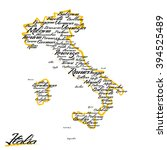 italy map with city names  | Shutterstock .eps vector #394525489