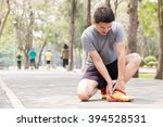 sports injury. man with pain in ... | Shutterstock . vector #394528531