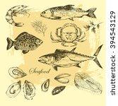 vector hand drawn sea food... | Shutterstock .eps vector #394543129