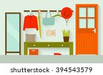 interior of a home hall. flat...   Shutterstock .eps vector #394543579