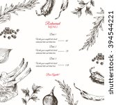 vector meat steak hand drawn...   Shutterstock .eps vector #394544221