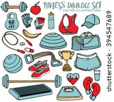 Hand Drawn Fitness Doodle Set ...