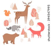 Vector Set Of Cute Animals In...