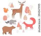 Vector Set Of Cute Animals In...