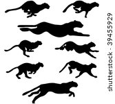 set of wildcats  puma  running... | Shutterstock .eps vector #39455929