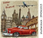 vintage travel poster. | Shutterstock . vector #394561015
