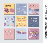 thank you card set. artistic... | Shutterstock .eps vector #394562044