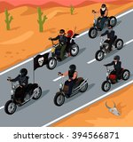 bikers riding on the highway... | Shutterstock .eps vector #394566871