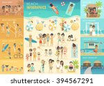 Beach Infographic Set With...