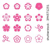 sakura flowers icon set  ... | Shutterstock .eps vector #394571251