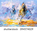 Stock photo oil painting running horse 394574029