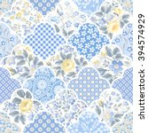 seamless floral patchwork... | Shutterstock .eps vector #394574929