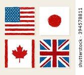 vector flags of usa japan... | Shutterstock .eps vector #394578811