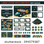 large outer space birthday... | Shutterstock .eps vector #394579387