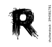 r letter painted with a felt... | Shutterstock .eps vector #394581781