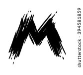 m letter painted with a felt... | Shutterstock .eps vector #394581859