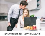 husband kissing goodbye to his... | Shutterstock . vector #394606645
