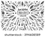 hand sketched vector vintage... | Shutterstock .eps vector #394608589
