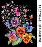 floral composition of viola... | Shutterstock . vector #394613761