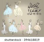 fashion attractive wedding... | Shutterstock .eps vector #394618819