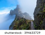 mountain trail in madeira above ... | Shutterstock . vector #394633729