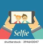 boy and girl taking selfie... | Shutterstock . vector #394643047