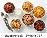 Bowls Of Various Cereals And...