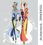 ethnic fashion models in sketch ... | Shutterstock .eps vector #394654531