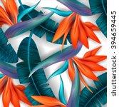 strelitzia pattern. tropical... | Shutterstock .eps vector #394659445