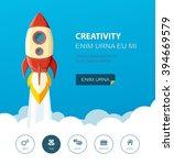 space rocket launch. start up... | Shutterstock .eps vector #394669579