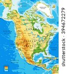 physical map of north america | Shutterstock .eps vector #394672279