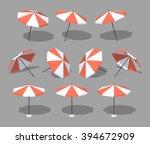 sun umbrella. 3d lowpoly... | Shutterstock .eps vector #394672909