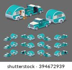 turquoise retro pickup with rv... | Shutterstock .eps vector #394672939