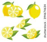 yellowe lemons with leaves.... | Shutterstock .eps vector #394674634