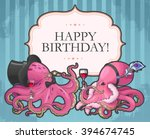 Vector Retro Birthday Card Wit...