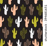hipster cactus seamless pattern.... | Shutterstock .eps vector #394681651