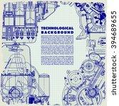 retro monochrome  technical... | Shutterstock .eps vector #394689655