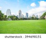 green grass field in big city...   Shutterstock . vector #394698151